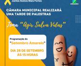 """Em alusão ao Setembro Amarelo, Câmara Municipal vai realizar uma tarde de palestras com tema """"Agir Salva Vidas"""""""